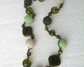 Colorful crocheted necklace with beads   E196