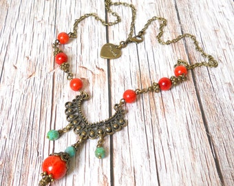 red and turquoise bohemian necklace coral necklace red coral necklace filigree necklace sponge coral necklace boho turquoise czech beads
