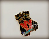 Vintage Black Cats Cloisonné Brooch - The Crazy Cat Lady Collection