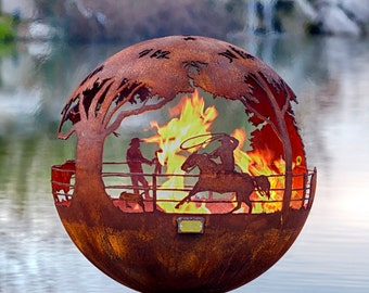 "Round Up 37"" Ranch Fire Pit Sphere with Flat Steel Base or Horseshoe Base - horse firepit"