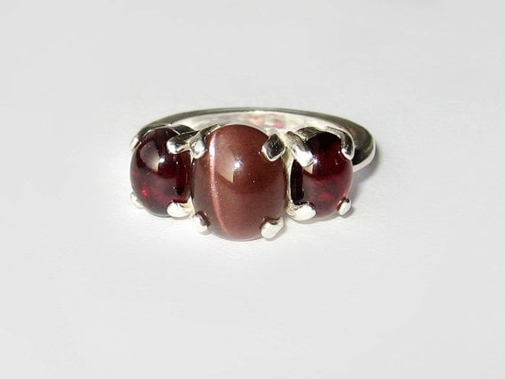 """Natural Gemstone """"Pulse Of Passion"""" Garnet And Sillimanite Ring In Sterling Silver. Size 8"""