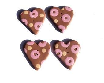 Large VALENTINE HEART buttons, set of 4 hearts, chocolate light-pink coffre cream, ecru polka dots,  handmade in polymer clay, boutons coeur