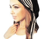 Black Head Scarf Tichel Versatile Black White Stripe Wrap Can Be Adjusted Like Hair Chemo Hat Cap Hair Snood Pre Tied Bandana - 094