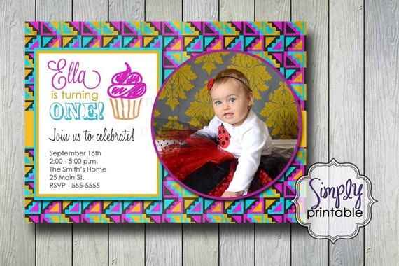 Tribal Blackboard Birthday Invitation (Printable Digital File)