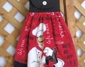 Coffee Chef Kitchen Tea Towel LAST ONES Hanging Kitchen Dish Towel Red and Black Hanging Kitchen Towels SnowNoseCrafts