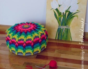 Crochet Pouf Mandala Crochet Pattern PDF - pillow or crochet hoop wall art photo tutorial - Instant DOWNLOAD