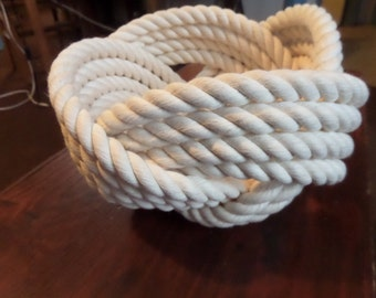 """Nautical Decor Cotton Rope Bowl Basket 7 x 5 """"  Knotted  off white FREE SHIP"""
