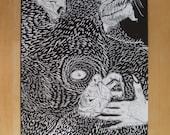 Werewolf Black and White A3 Print