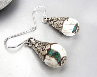 Pewter & stone earrings in turquoise and white // nature inspired jewelry