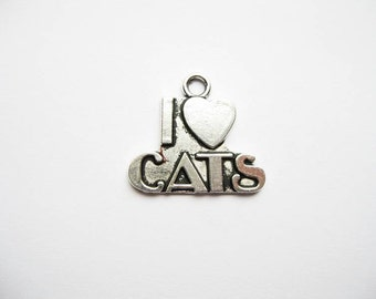 10 I Love Cats Charms in Silver Tone - C1423
