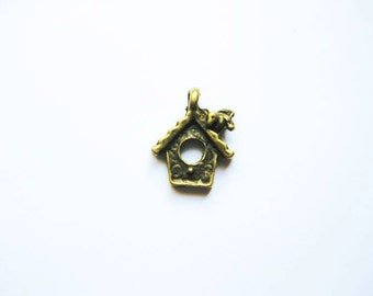 SALE - 12 Bird House Charms in Bronze Tone - C1974