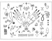 Everybody's Alone FLASH Tattoo Sheet Illustration Hands Snake Palm Trees Pyramids Berber Finger Tattoos