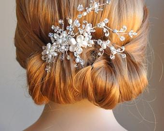 Bridal Hair Accessories, Crystal Wedding Hair Comb, Swarovski Pearl and Freshwater Flower and Leaf Rhinestone Headpiece, Hairpiece, CLARETTE