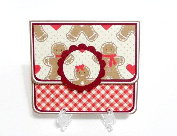CLEARANCE- Christmas Gift Card Holder, Gift Card Envelope, Gift Card Box, Money Holder- Gingerbread Men