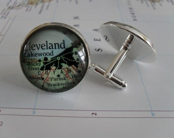 CLEVELAND OHIO Map Silver Cufflinks// Father's Day // groomsmen gift // Christmas // Birthday // Anniversary // Gift for him // cuff links