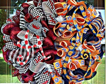 Deco Mesh Alabama and Auburn House Divided Wreath, deco mesh wreath, wreath, football wreath, house divided