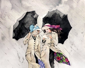 Best Friends Art - Sisters Art - Umbrellas and Rain - Watercolor Print