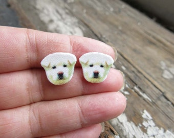 White Akita Dog Stud Post Animal Earrings Fun Stocking Stuffer Puppy for Girls Image Jewellery White Dog