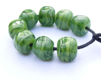 Handmade lampwork beads set of 8 lime green striated curvy cube beads