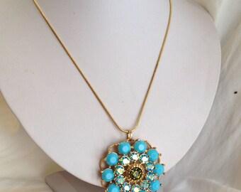Vintage Turquoise and Blue Aurora Borealis Estate Pendant Necklace Blue Stone Pendant Gold Pendant Large Pendant