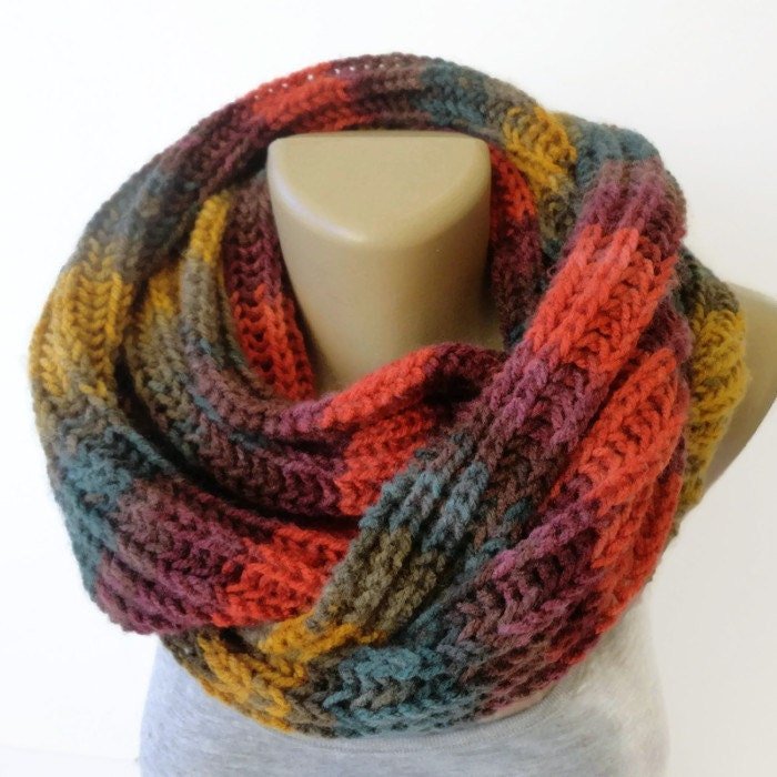 Women Chunky Knit Infinity Scarf Knit Scarf Winter Accessories Men
