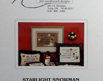 The Stitchworks STARLIGHT SNOWMAN Star Light Bright Snow Man - Counted Cross Stitch Pattern Chart