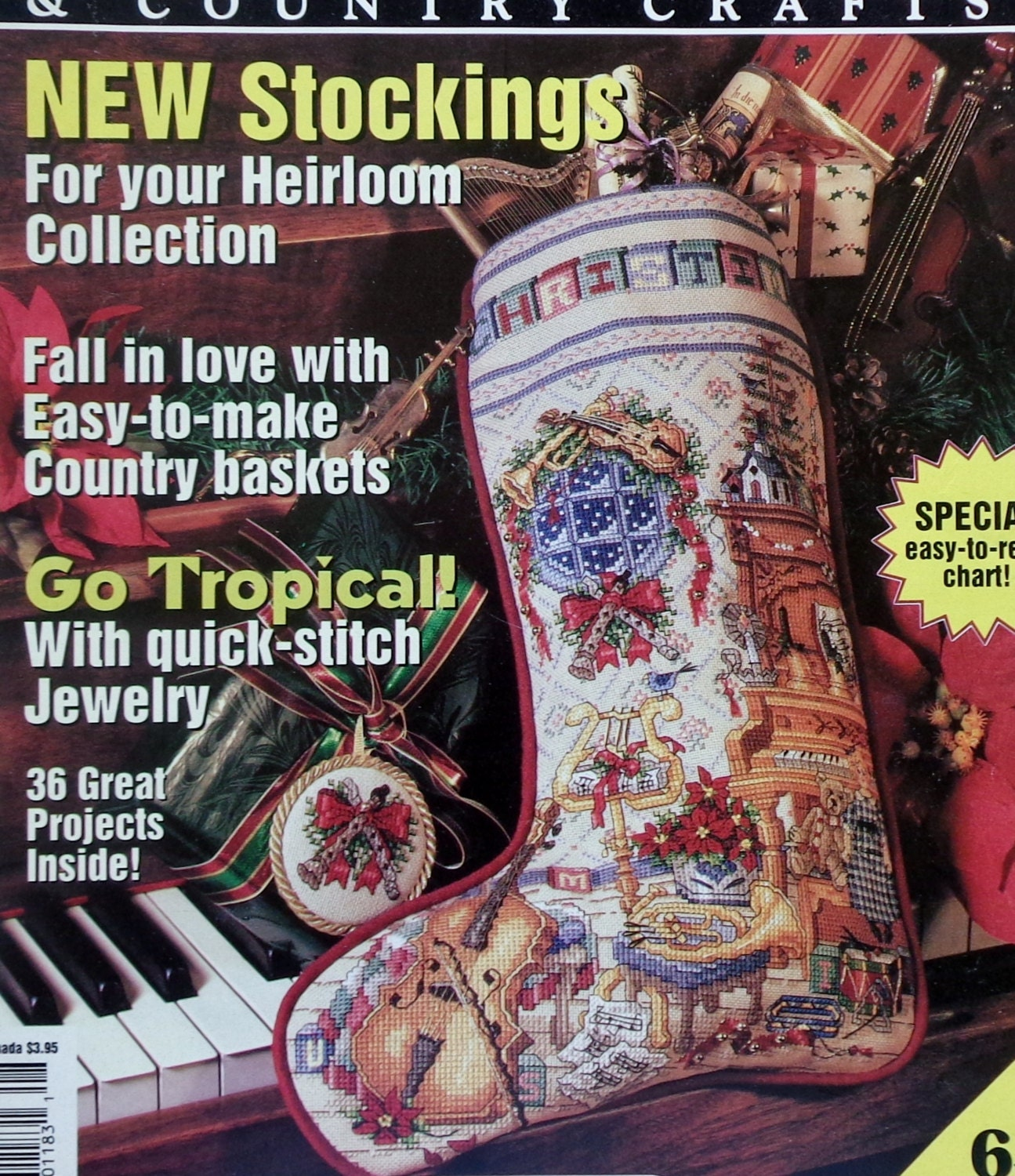 Country Homes And Gardens Magazine: MUSIC ROOM Heirloom Christmas STOCKING Better Homes & Gardens