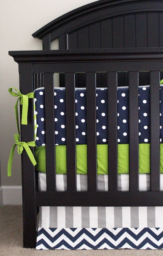Custom Crib Bedding Lime Green Chevron Navy Blue By