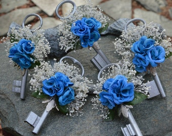 Made To Order ..... Skeleton Key Boutonniere in Shades of Blue