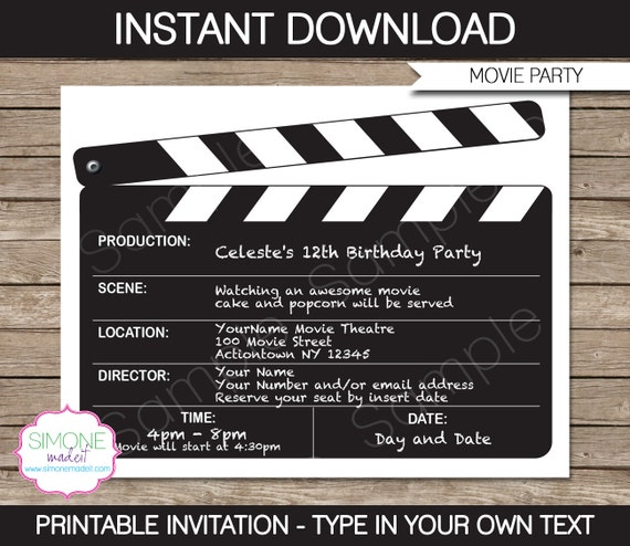 Movie invitation template movie night birthday party movie invitation template movie night birthday party instant download with editable text you personalize at home stopboris Gallery