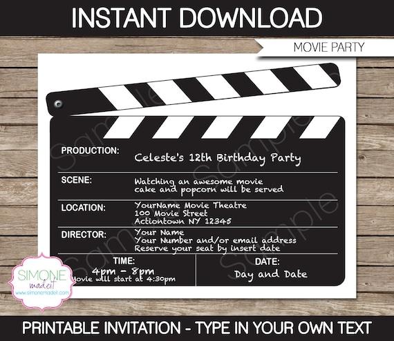 movie invitation template movie night birthday party