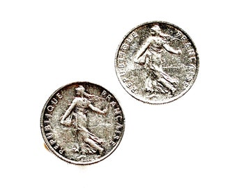 France Coin Cufflinks - Men's Jewelry - Handmade - Gift Box Included