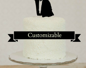 Custom Silhouette Wedding Cake Topper with YOUR OWN Silhouettes - made from your photos Personalized Topper