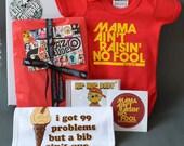 Lil' Gangsta Hip Hop Baby Gift Set. Red onesie, hip hop lullaby music CD, baby bib, sticker & baby card. Funny Newborn baby gift box.