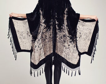 Black Velvet Fringe Kimono - Midnight Magic Classic