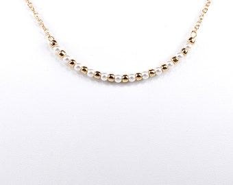 Swarovski Pearl Necklace Bar Pendant Choker
