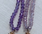 AA Grade 10mm Facet Cut Amethyst Gemstone Necklaces On Amethyst Cords