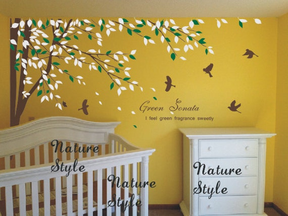 Branch with Flying Birds -Tree and bird wall decals baby Nursery wall sticker Branch vinyl wall decal Children wall mural girl  room decal