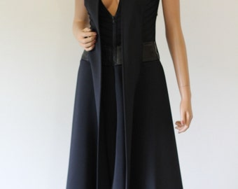 Avant garde neoprene and leather jacket