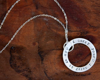 Hand stamped necklace, personalized, sterling silver, inspirational, I carry your heart, gift