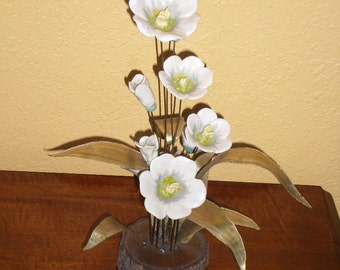 Ceramic White WILDFLOWERS/Brass Leaves/METAL ART/Wood/Bark/Base/Vintage/Yellow Centers