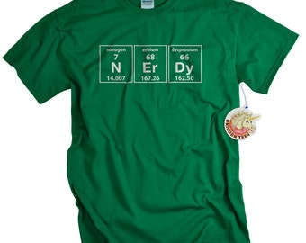 Mens Geek Shirt Periodic Table of Elements Geekery Tshirt for Men Women and Youth Green Nerdy Nerd T-shirt