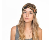 Black Floral Jersey Knit Stretch Turban Headband Turband