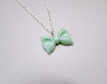 Mint Green Bow Necklace