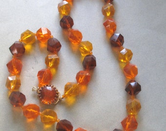 Lucite Necklace Jeweltone Jewel Tone Beads Orange Amber Brown vintage costume jewelry Hong Kong Fall colors MoonlightMartini
