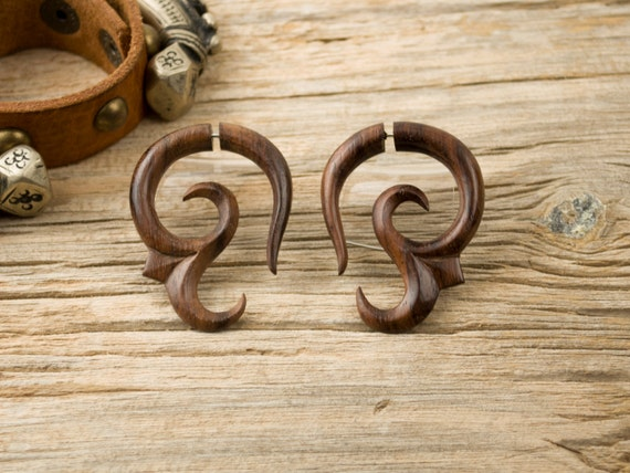 Earrings Fake Gauges Wood Earrings Earring Spiral Flower Tribal Earrings - FG007 W G1