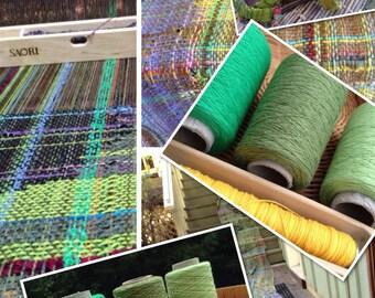 "Organic cotton weaving yarn 3 cone set  8/2 cotton"" Accent on Greens"" :Saorisantacruz"
