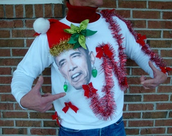 Obama Ugly ChRISTMAS SWEATERS | Funny Political Humor Light Up Earrings - Ugly Photo Light Up Tacky Party - Size s m l xl xxl 3xl 5xl