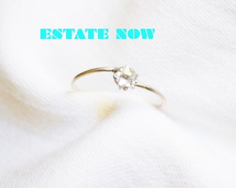 Stackable Mid Finer Ring Size 4.5, Clear C Z, Star Shape, Pinky Silver Ring, Item No. S 357