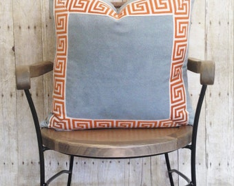 Pillow Cover with Greek Key Trim | Designer Quality Accent Throw Pillow